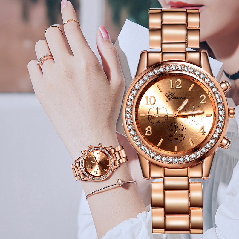 Reloj Mujer 2019 Watches Women Classic Geneva Luxury Ladies Watches Womens Full Steel Crystal Relogio Feminino Metal Wristwatch