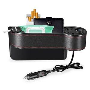 Image 5 - ZEEPIN C15 רב להשתמש רכב סיאט אחסון קופסא עור מפוצל מקרה כיס ימין מושב צד סדק מתח תצוגה 2 סיגריות מצית