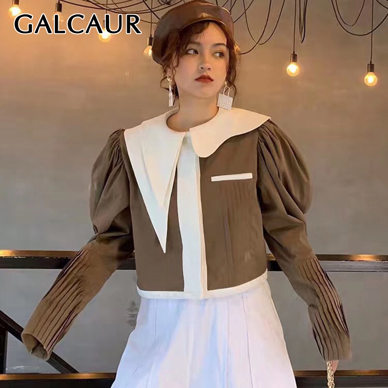 GALCAUR Patchwork Hit Color Women's Jacket Asymmetrical Collar Lantern Long Sleeve Korean Female Coat 2020 Autumn Fashion New