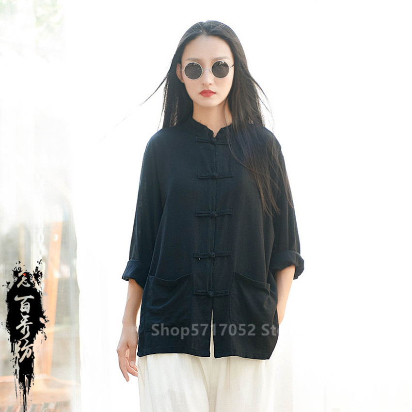 Chinese Kung Fu Tai Chi Traditional Clothing Women Tang Suit Loose Pants Linen Soft Breathable Uniform Pocket Top Yoga Outfits