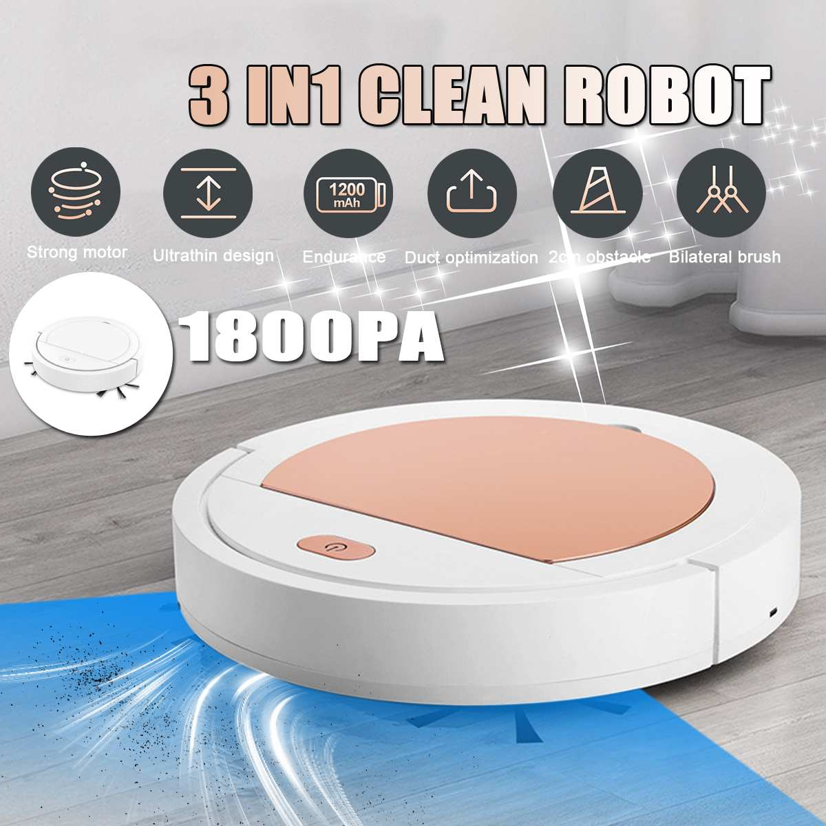 New 3 In 1 Smart Sweeper Robot House Durable Power Floor Cleaning Robots Vacuum Cleaner 1800pa