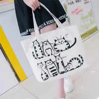 Women Canvas Shopping Bag Cartoon Cat Printed Shoulder Bag Female Large Capacity Ladies Beach Bag Canvas Tote Shopping Handbags