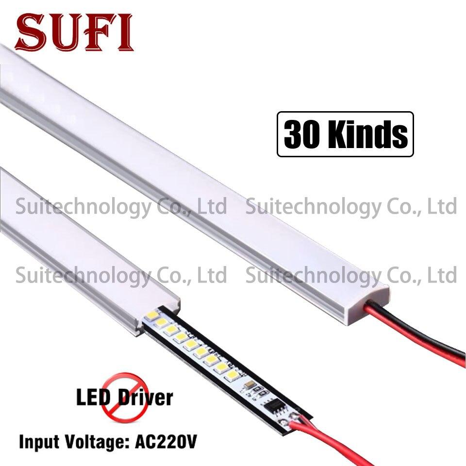4pcs LED U Type Slot Hard Light Strip AC220V Light Strip For Display Counter Wine Cabinet Shelf Light Mirror Front Light Tube