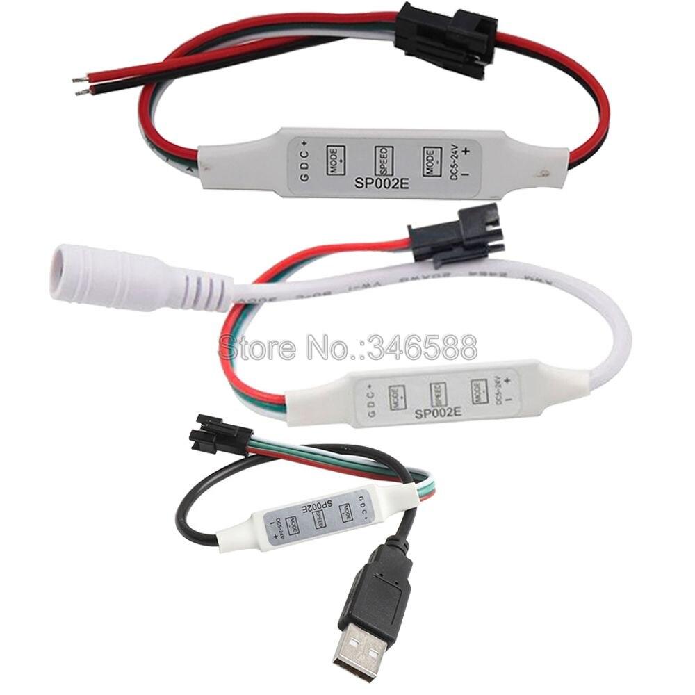 DC5V-24V LED Controller SP002E 3 Keys Mini Pixel Controller Wire DC USB Interface 600 Pixels For WS2812B WS2811 LED Strip Light