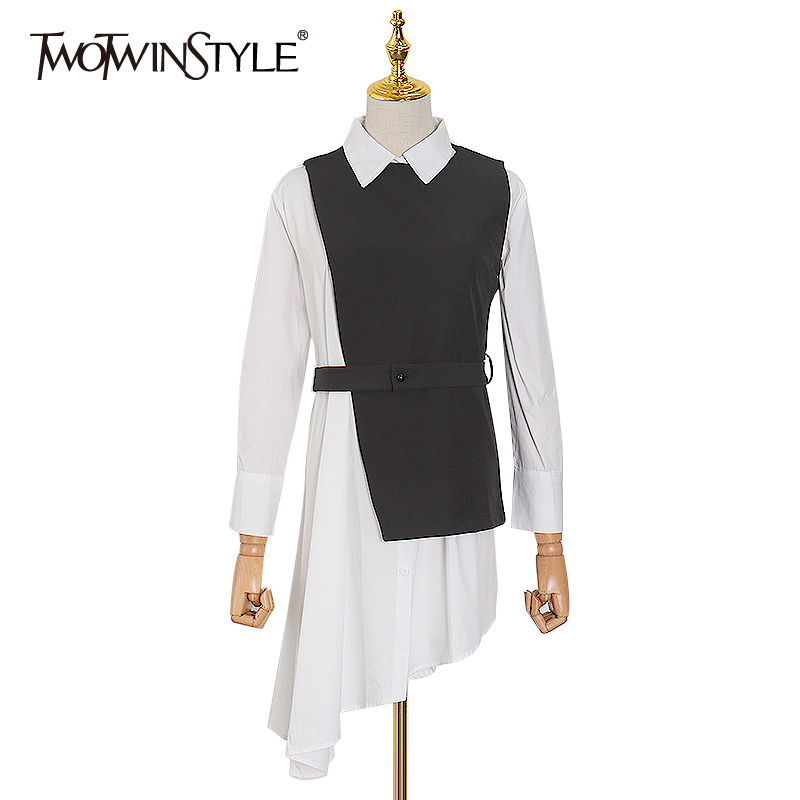 TWOTWINSTYLE Hit Color Dress For Women Lapel Collar Long Sleeve Elegant Two Piece Dresses Female 2020 Spring Fashion New