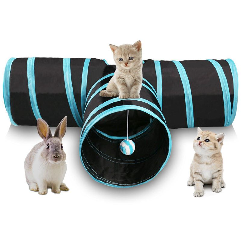 Cat Tunnel 3 Way Collapsible Pet Cat Play Tunnel with Ringing Ball, Spacious Tube Fun for Cat Puppy Kitten Blue + black image