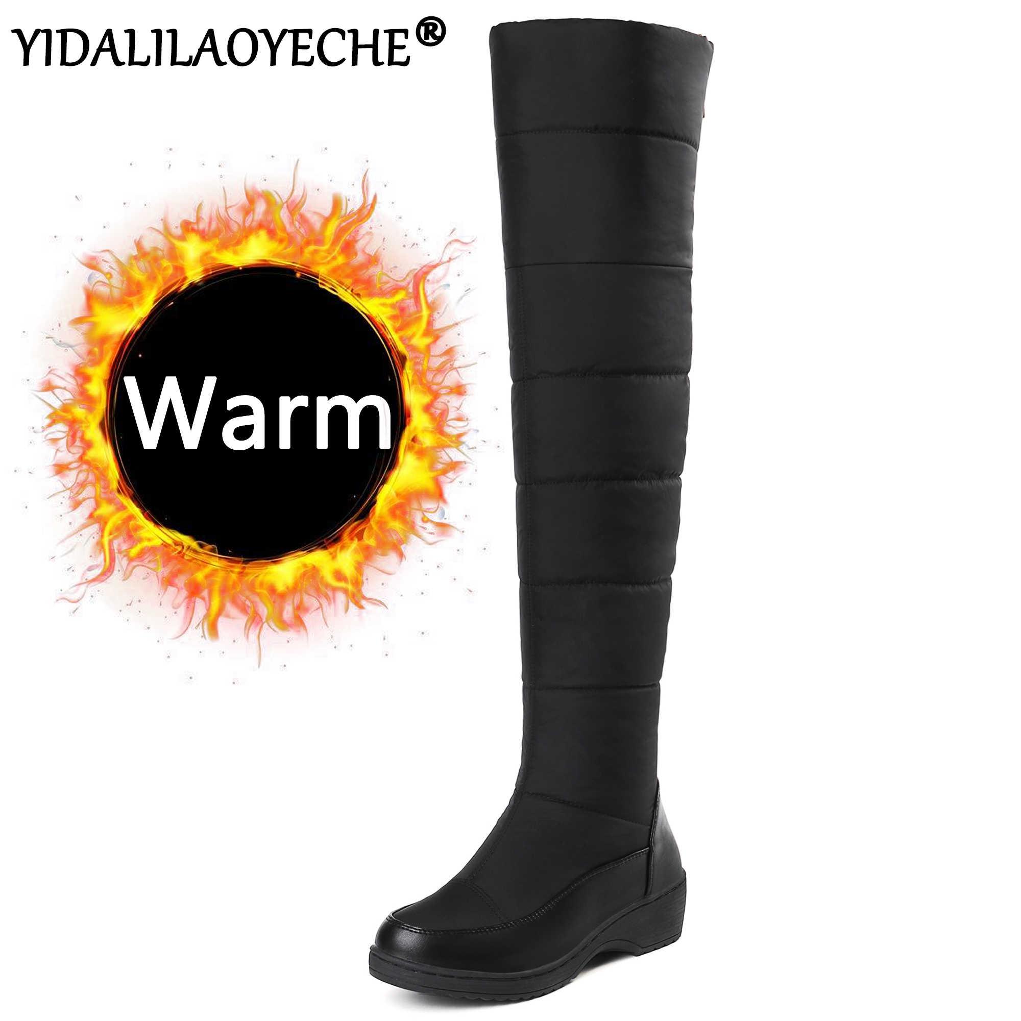 Зимние сапоги; женские теплые сапоги до колена; однотонные женские зимние сапоги на танкетке из короткого плюша; водонепроницаемые; большие размеры