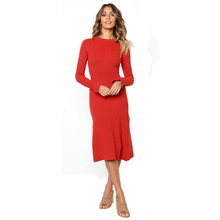 New 2019 Fashion Knitted Women Dress Solid O-Neck Full Sleeve Long Autumn Dress Sexy Office Ladies Slim Casual Vestidos Robe цены