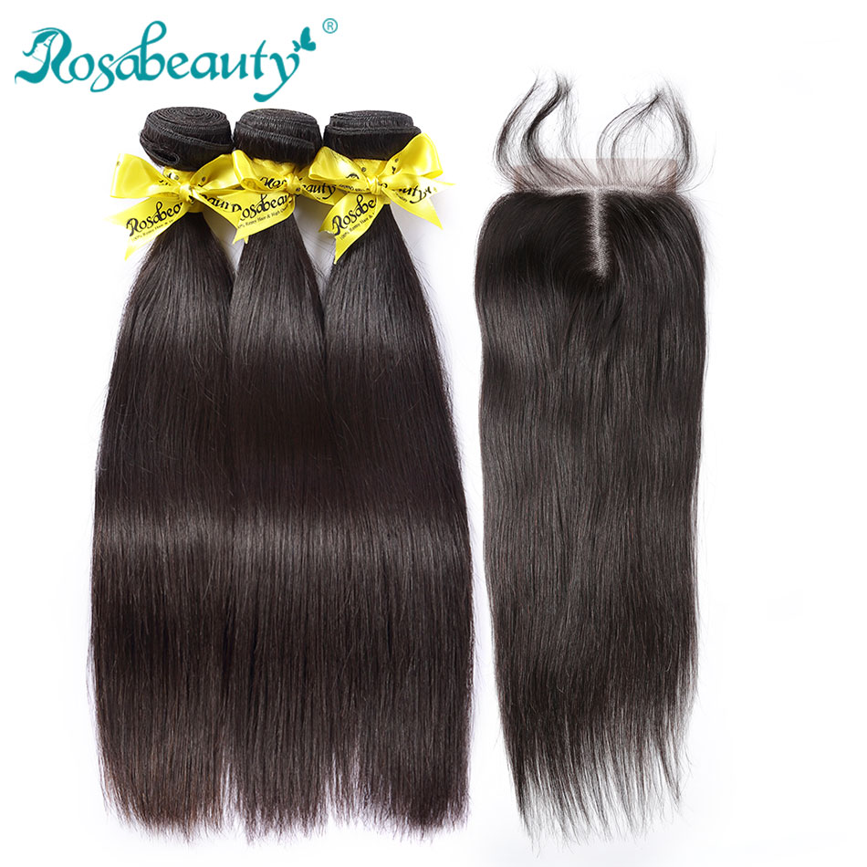 Rosabeauty 3 4 Bundles Straight Hair With Closure 8- 30 Inch Natural Color Brazilian Remy Human Hair Weave With Closure Frontal