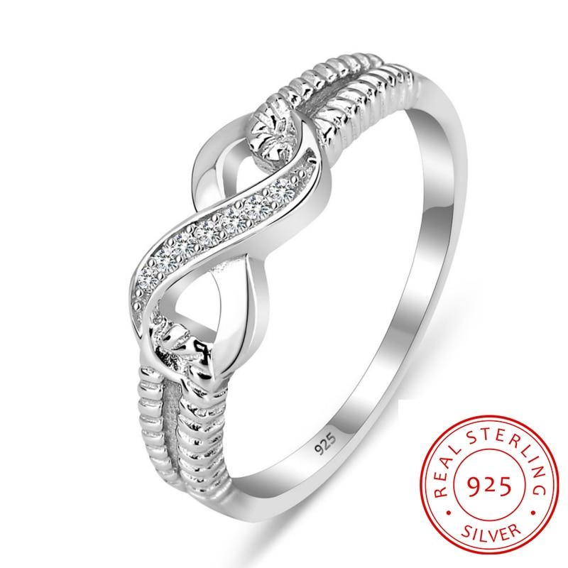Anillo de eternidad Anillos de compromiso Plata de ley 925 Anillos para mujer Boda de plata Señora Infinity Jewelry (RI101804)