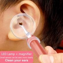 Для чистки ушей светильник Ушная палочка ложка Earpick уха воск для удаления маленьких Чистка ушей инструмент с лупой две ложки подарок