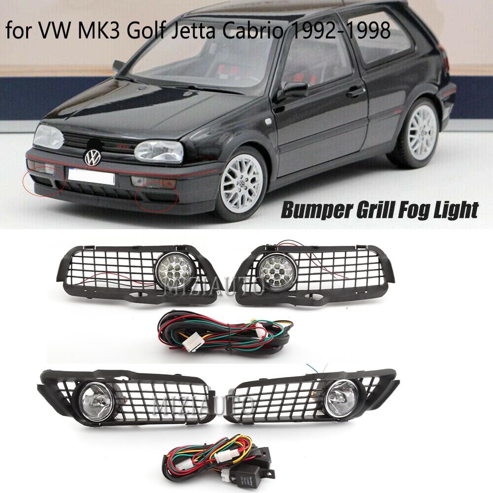LED Nebel Licht für VW MK3 Golf Jetta Cabrio 1992-1998 Scheinwerfer Kühlergrill mit Anschluss Draht Kabel foglight nebel lichter