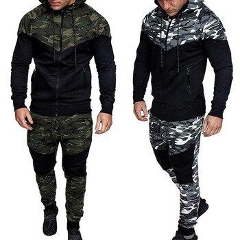 Puimentiua 2020 Camouflage Printed Sportswear Men Set Sports Suits For Men 2Pcs Tracksuit Hoodies Sweatshirt Pants Sport Suit