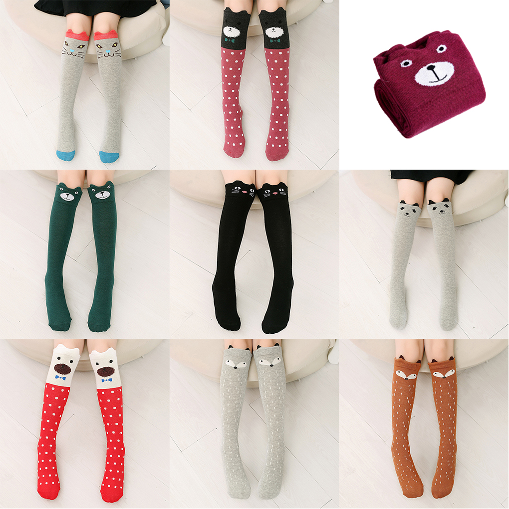 Cartoon Cute 7-12 Years Kids Children Socks Cat Animal Cotton Girls Socks Knee High Long Socks Thigh High Socks