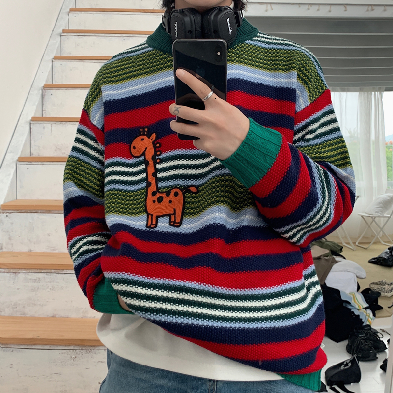 2019 New Large Size Winter Simple Popular Men's Loose Korean Version Of The Wild Thick Round Neck Retro Casual Pullover Sweater
