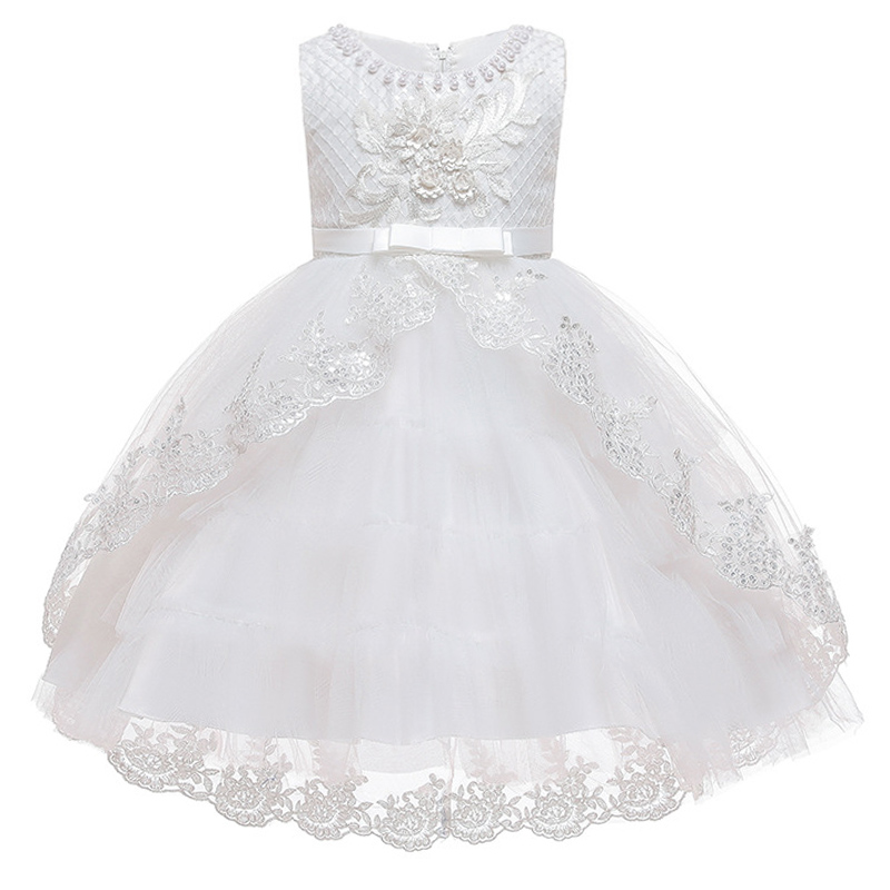 Flower Girl Birthday Party Ball Beading Tail Wedding Dress White Dress Girl Princess Formal Eucharist Party Tail Dress