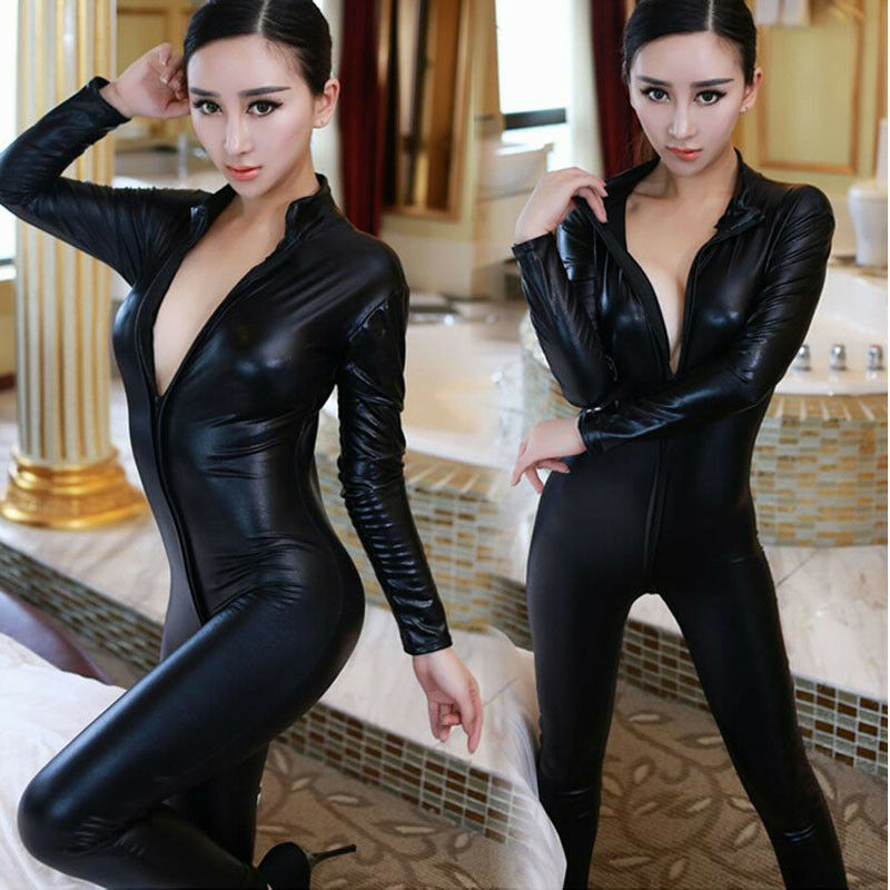 Sexy Elegant Fashion Catsuit PVC Faux Leather Bodysuit Women Jumpsuit Clubwear Suit Plus Size