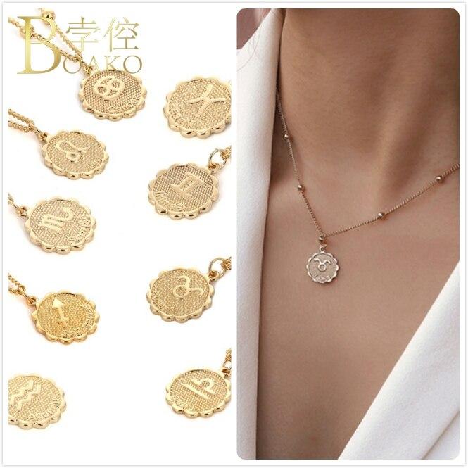 Relief Constellation Collier pour femmes or zodiaque horoscope pendentif chokers Collier fille cadeau déclaration Collier Z5 | AliExpress