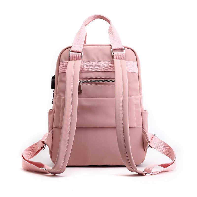 Heflashor Nilon Wanita Sekolah Ransel Anti Theft USB Charge Tahan Air Ransel Bagpack Tas Sekolah Gadis Remaja Tas Travel
