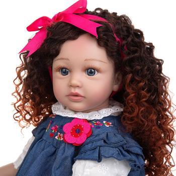 New Design Density Curls As Princess Reborn Baby Dolls Lifelike 60 CM Toddler Bebe Dolls