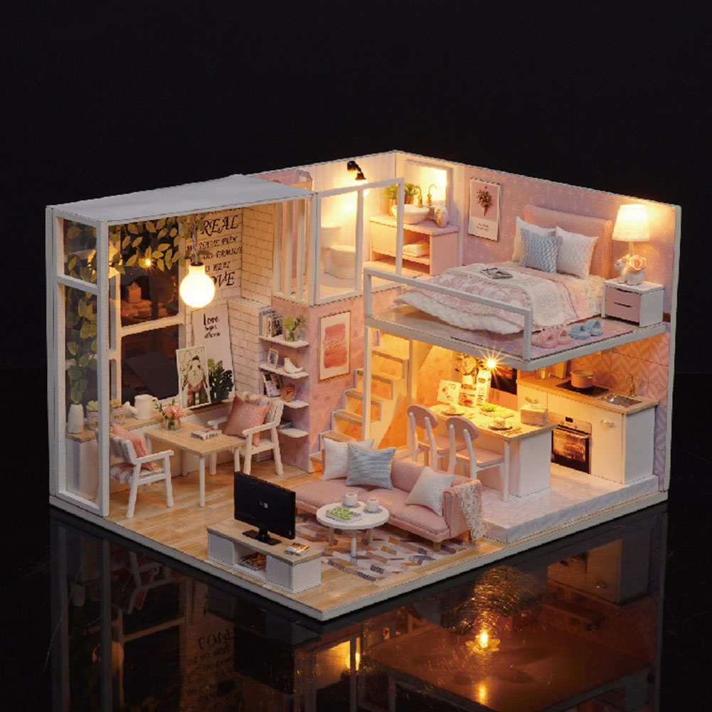 Christmas Battery Powered Apartment Wooden Furniture Kit DIY Doll House Gift Villa LED Light Children Assembling Toy Miniature