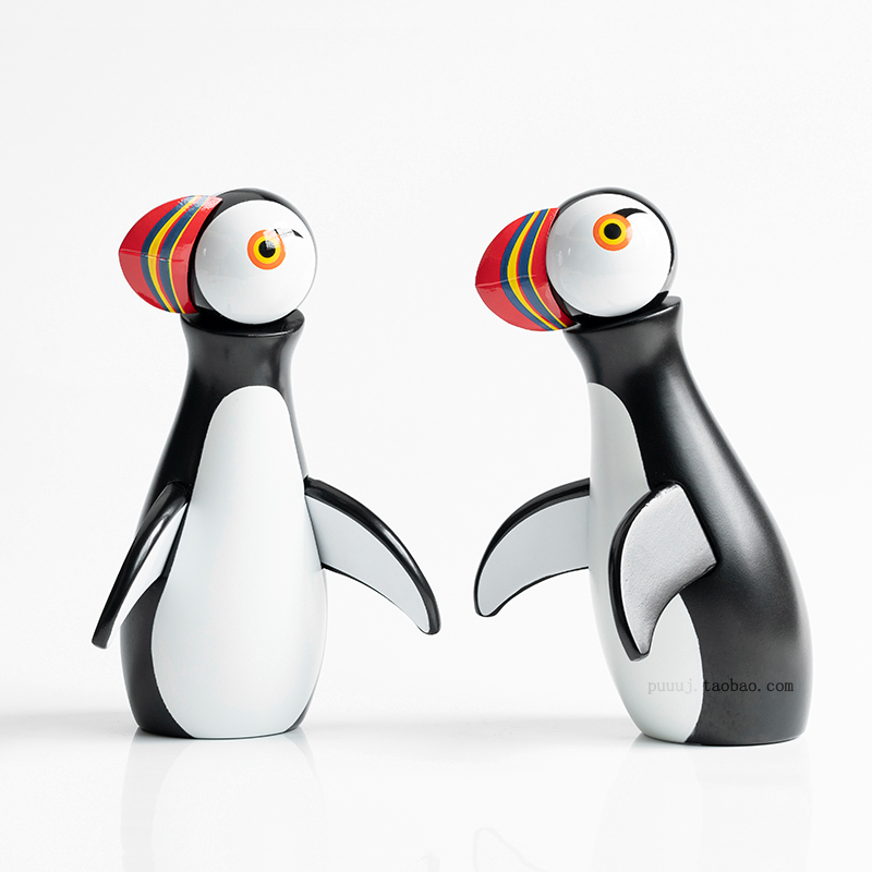 Nordic Decorative Puffin Handmade Wooden Figurine Bedroom Living Room Home Decoration Accessories Ornaments Holiday Gift Toys