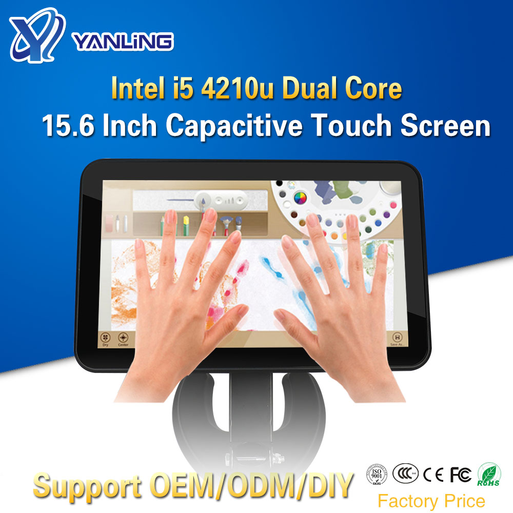 Yanling Factory Price 15.6 Inch Fanless All In One PC With Intel Core I5 4210u Motherboard 10 Points Capacitive Touch Screen PC
