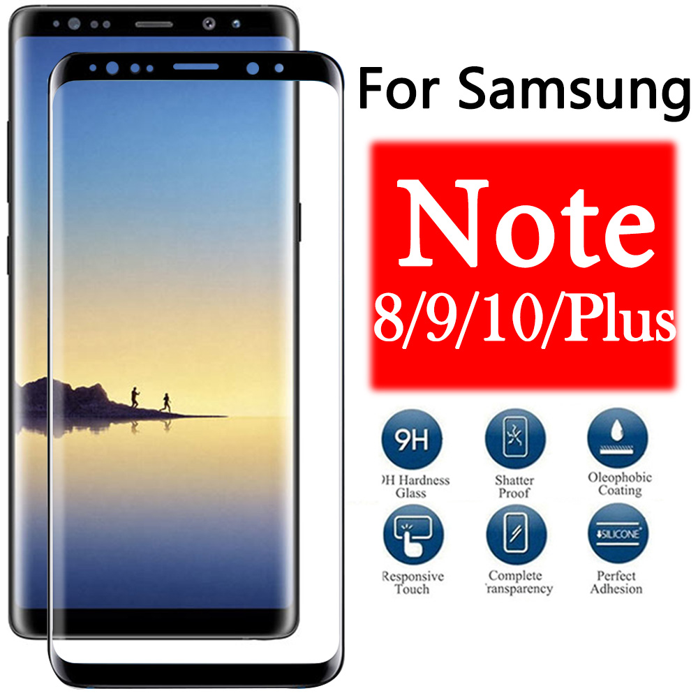 Protective Glass On For Samsung Galaxy Note 8 9 10 Screen Protector Note8 Note9 Note10 Plus Galax Tremp Tempered Glas Film Armor