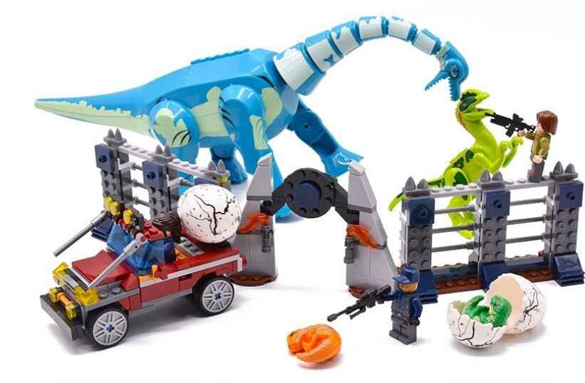 Парк Юрского периода Legoinglys Брахиозавр Велоцираптор 2 динозавр парк фигурки динозавр Динозавр динозавр строительные блоки кирпичи игрушки для мальчиков подарок