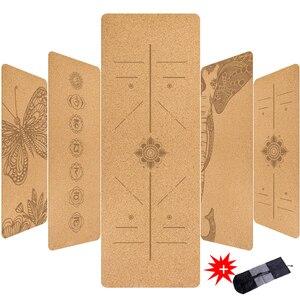 5mm Natural Cork TPE Printed Yoga Mat Non-slip Esterilla Yoga Sweat-absorbing Home Fitness Pad Gymnastics Pilates Mats With Bag