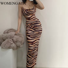WOMENGAGA Zebra Pattern Leopard Temperament Beach Vacation Low Chest Strapless Thin Suspender Dress Long Tank Dresses GK29