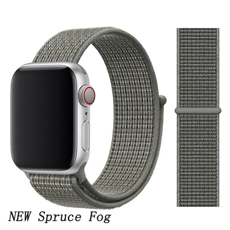 Спортивная петля ремешок apple watch band 42 мм 38 мм apple watch 4 3 band iwatch band 44 мм 40 мм correa pulseira 42 44 нейлоновый ремешок для часов - Цвет ремешка: New Spruce Fog 5