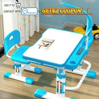 Transformer Children Study Desk for Child with Tilt Desktop LED Light Drawer Functional  Desk and Chair Set Kids  Writing Table