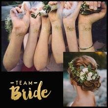 2 pces festa de solteira equipe da noiva da dama de honra tribo esquadrão tatuagem temporária galinha noite etiqueta dourada noiva para ser fontes de casamento