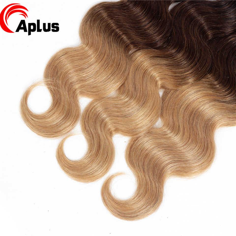 3 wiązki z zamknięcie koronki Ombre ciało fala indyjskie włosy 1B/4/27 trzy Tone włosy wyplata Remy pasmo ludzkich włosów czynienia z 4x4 zamknięcie