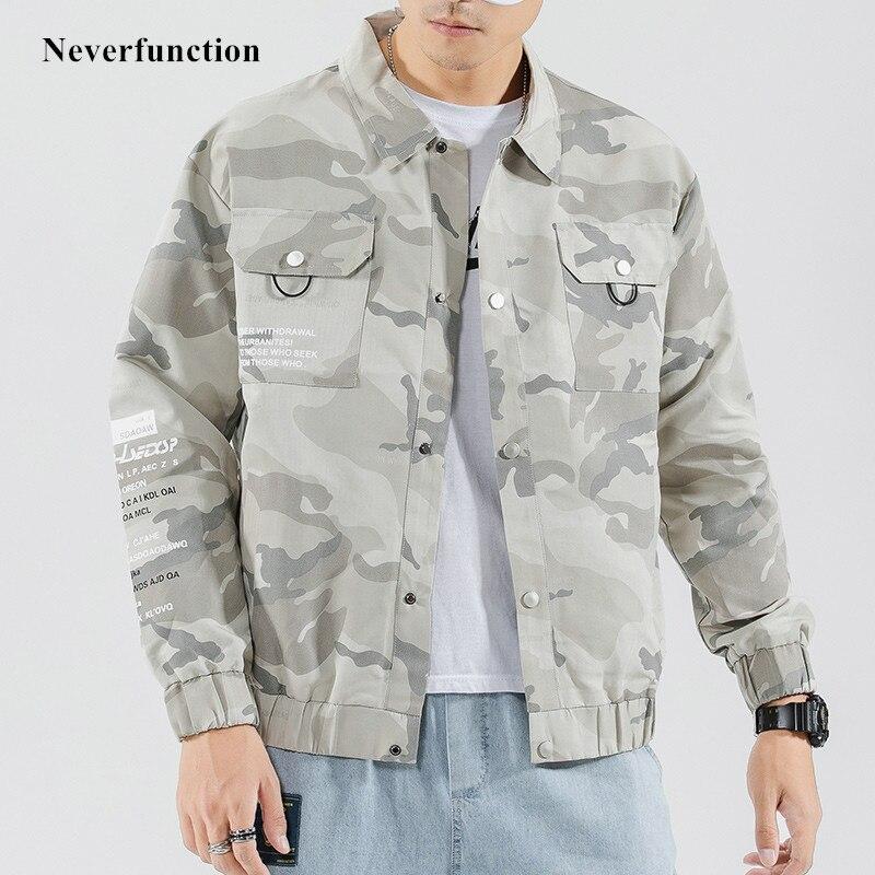 Mens Camouflage Streetwear Letter Printed Loose Windbreaker Jackets Autumn Harajuku Hip Hop Style Casual Camo Jacket Outwear