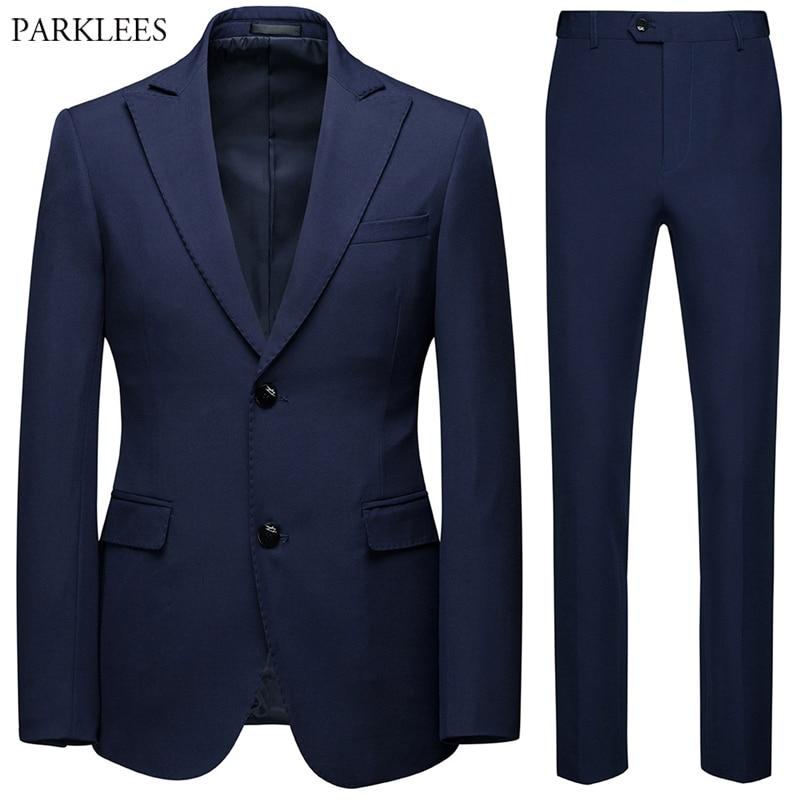 2 Pieces Mens Suit(Jacket+Pants)Party Wedding Suits For Men Two Button Slim Fit Suit Men Prom Tuxedo Suit Male Costume Homme