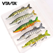 VTAVTA 3/5pcs Artificial Pike Wobblers Fishing Lures Set 12.5cm 20g Multi Jointed Hard Bait Crankbait Swimbait Fishing Tackle