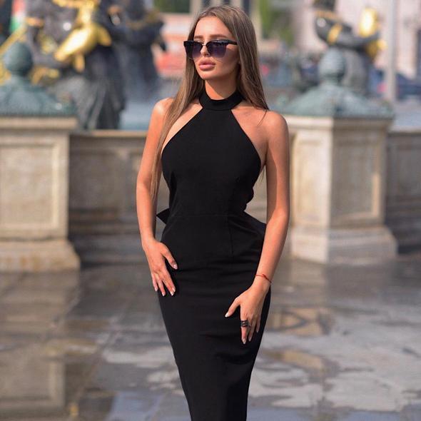 Φόρεμα halter backless κοκτέιλ ημι-επίσημο blue party women msow