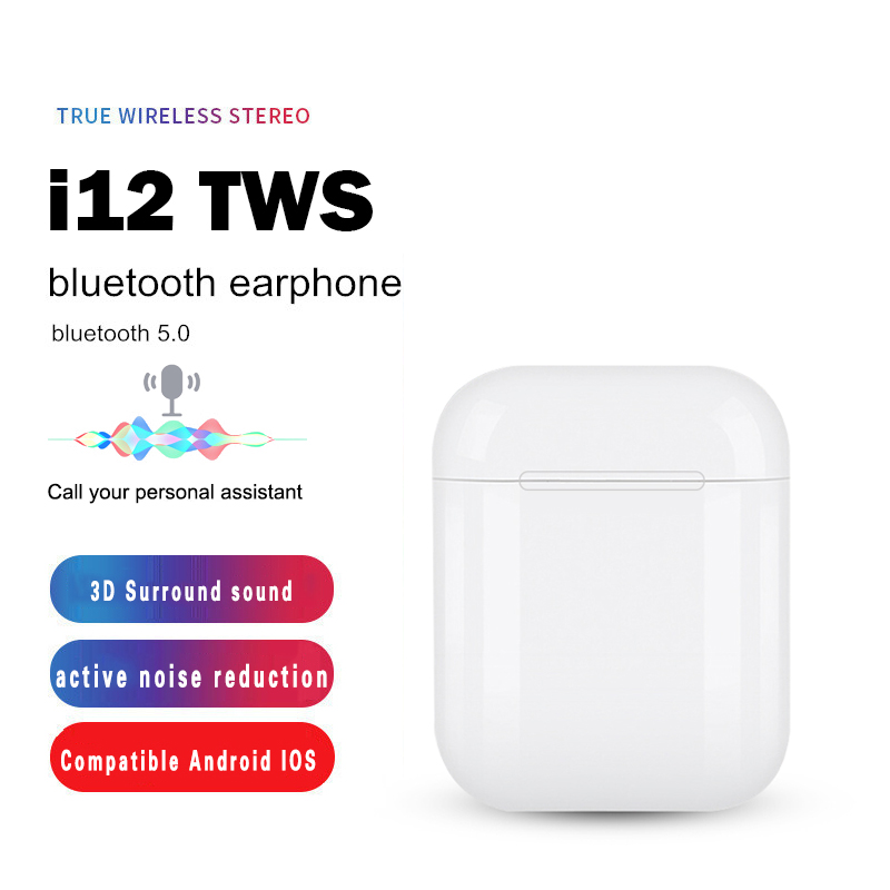 <font><b>i12</b></font> <font><b>Tws</b></font> <font><b>Wireless</b></font> <font><b>Bluetooth</b></font> <font><b>5.0</b></font> <font><b>Earphone</b></font> Headphone Touch Key <font><b>Mini</b></font> Earbuds With Mic Charging Box Sport Headset For <font><b>Smart</b></font> Phone image