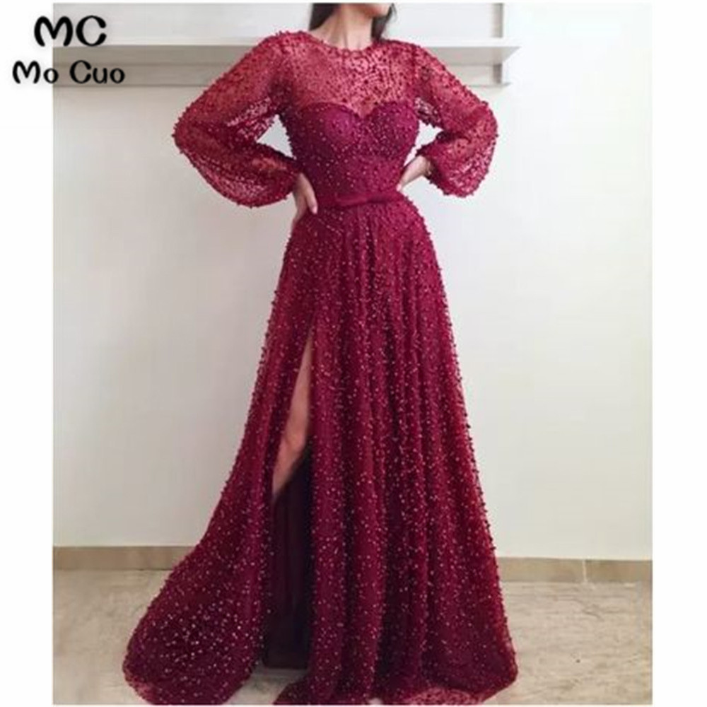 Burgundy Long Prom Dresses Long Sleeves with Pearls Evening Gown Vestido de festa Tulle Women Prom Dresses Custom Made