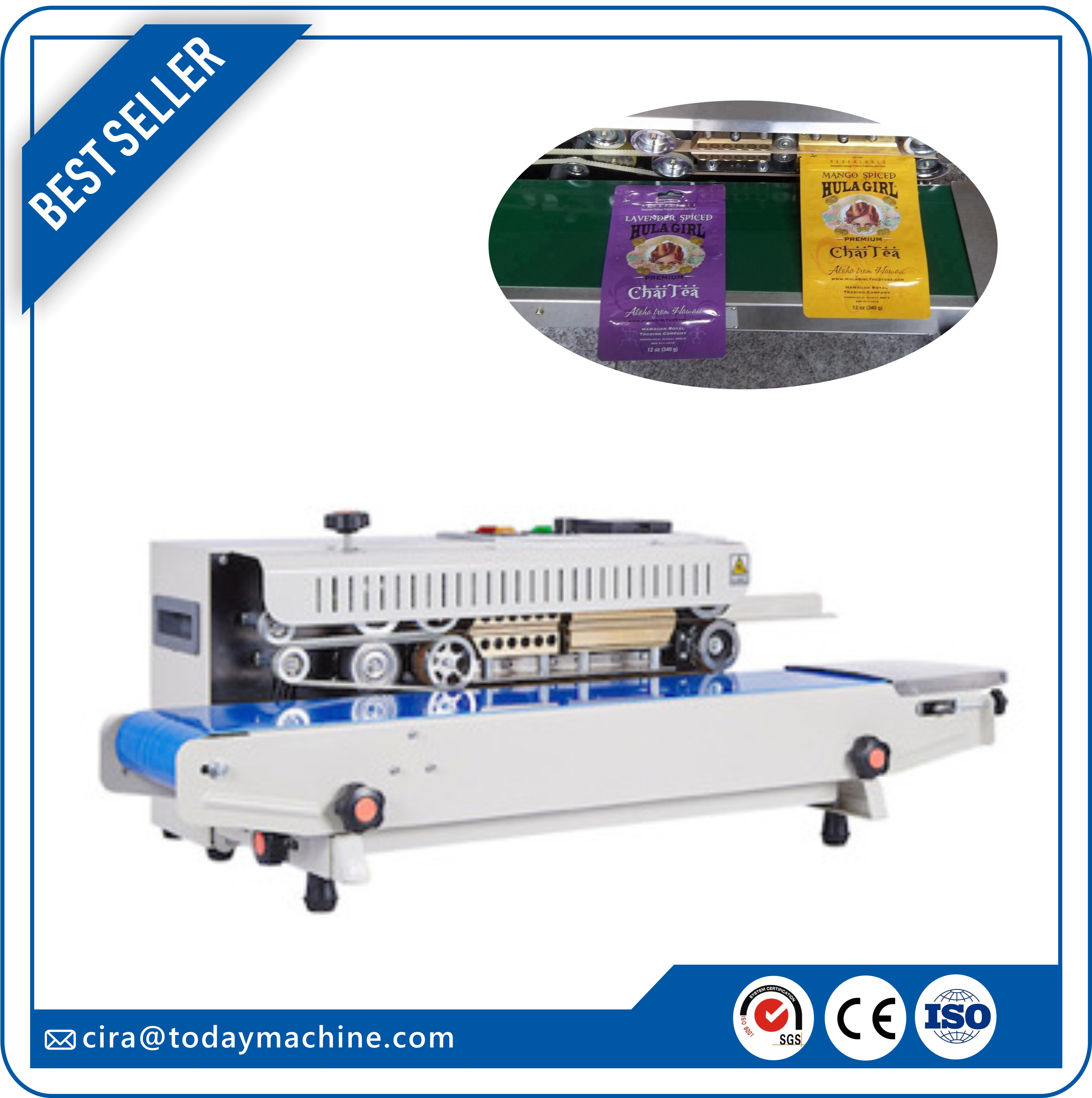 CBD Horizontal Heat Plastic Bag Pouch Sealer Automatic Continuous Sealing Shrink Sleeve Seaming Machine