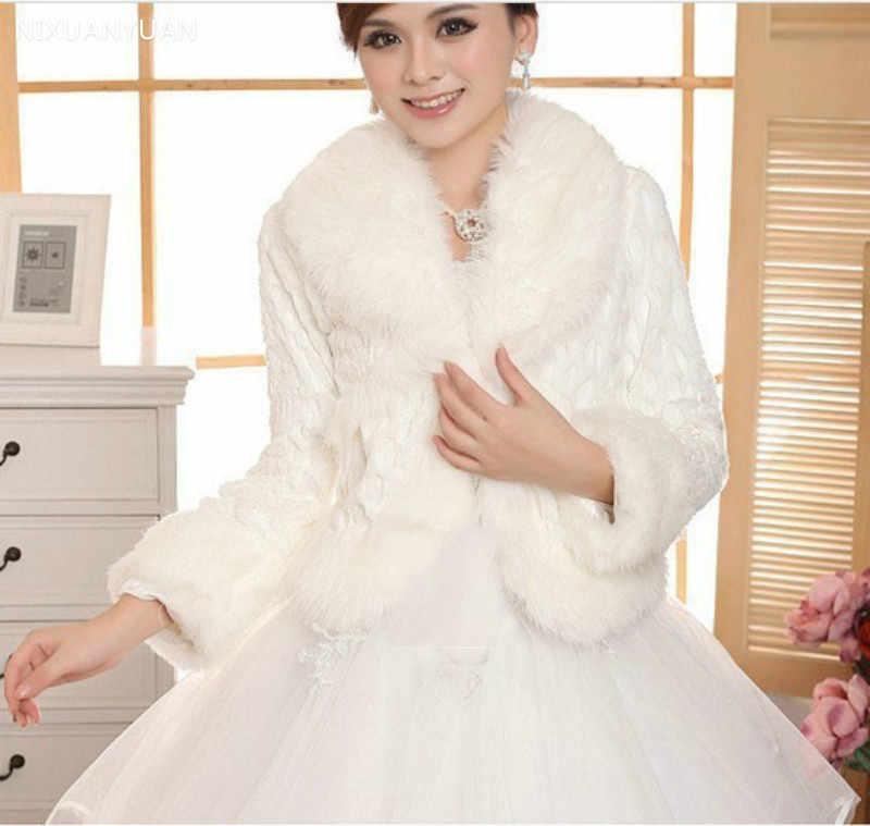 Free Size Ivory Wedding Accessories Faux Fur Winter Wedding Coat Wrap Shrug Bolero Bridal Shawl