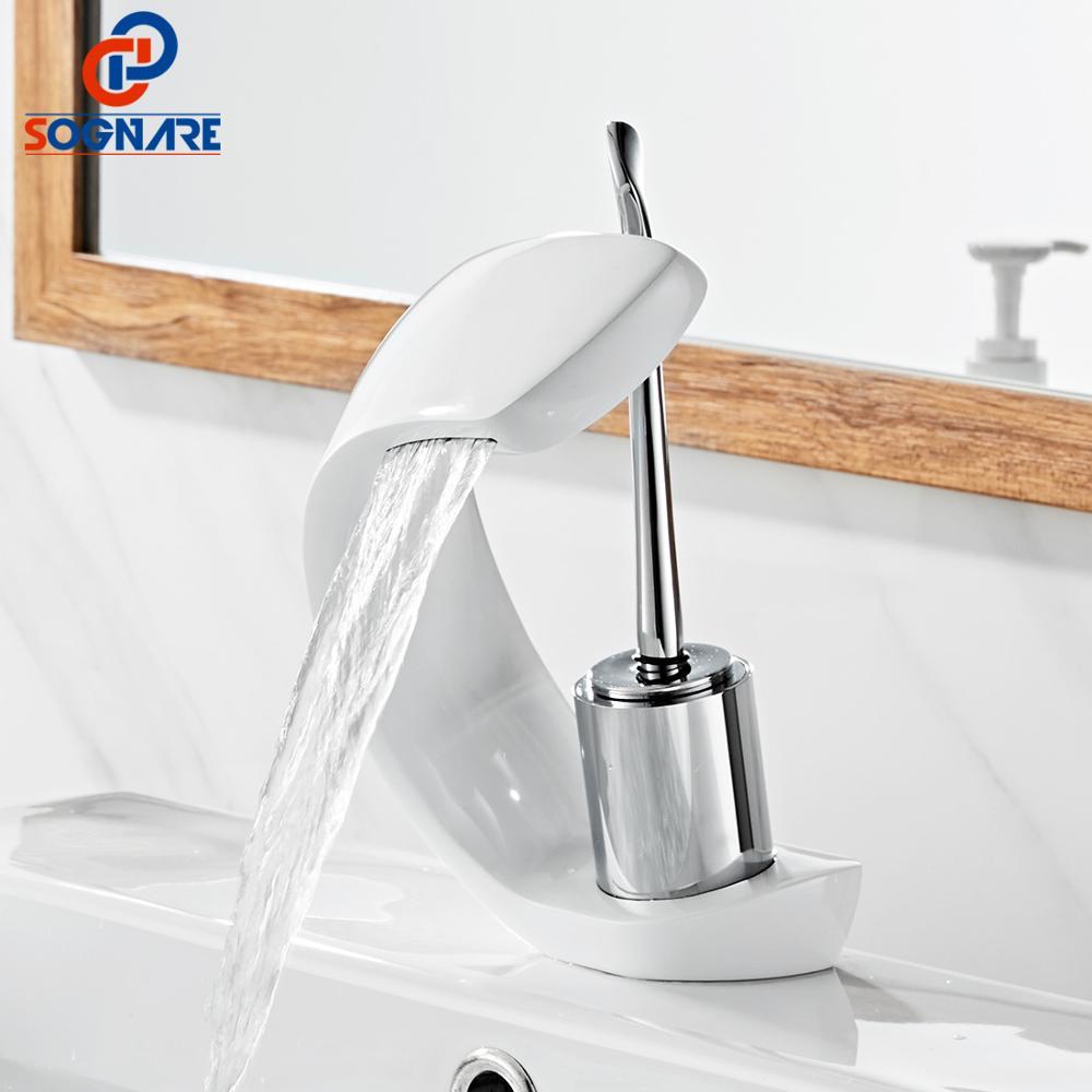 SOGANRE cascade salle de bains évier robinet mélangeur en laiton massif poignée unique trou chaud eau froide bassin mitigeur robinets blanc bassin robinet