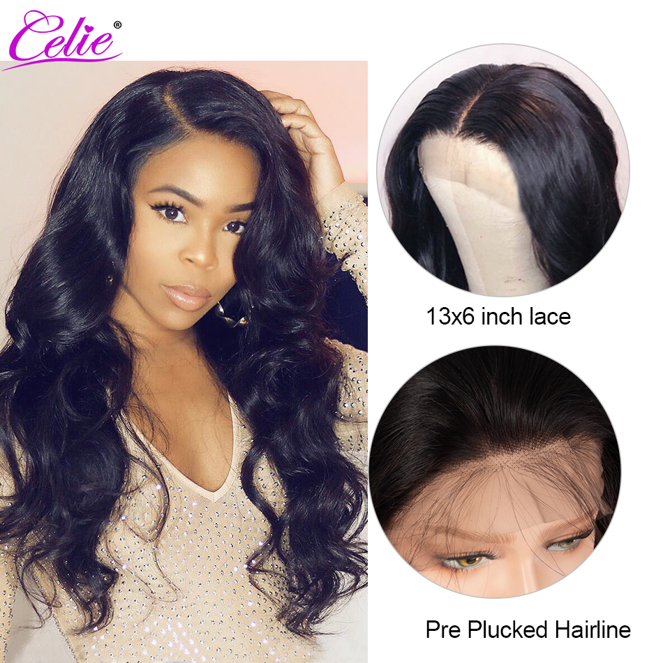 Image 2 - Celie 13x6 Body Wave Wig Lace Front Human Hair Wigs  250 Density Remy Brazilian 360 Lace Frontal Wig Pre Plucked With Baby Hair-in Human Hair Lace Wigs from Hair Extensions & Wigs