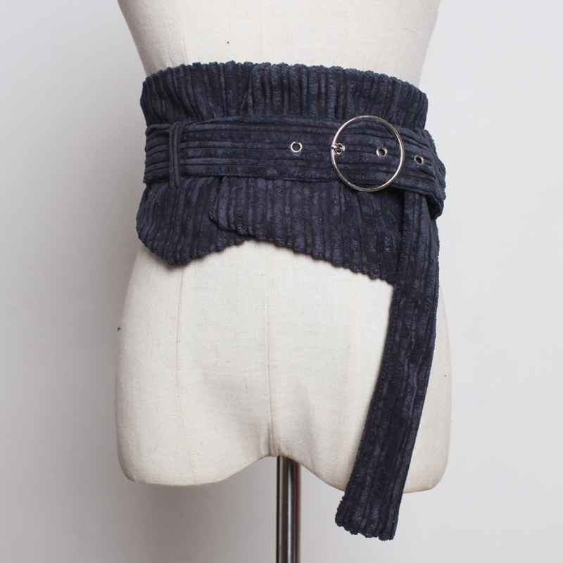 2020 New Design Corduroy Corset Belt Tide High Fashion Belts For Women All-match Solid Wide Belt Stylish Waistband Female ZL039