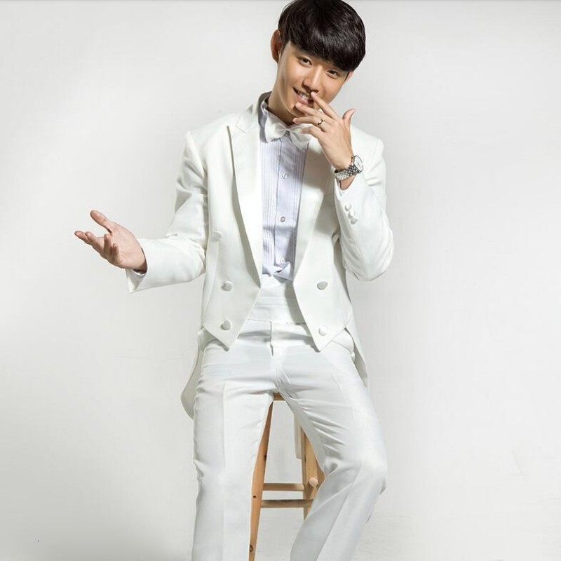 Hot Sale New Fashion Formal Mens 4 Suits Swallowtail Tailcoat Costume Jacket Lapel Party Wedding Pants White Black Free Size