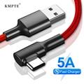 90 градусов USB Type C кабель для Samsung S10 S9 Быстрая зарядка USB Type-C кабель для передачи данных для Redmi Note 8 9 Pro USB-C провод Кабо