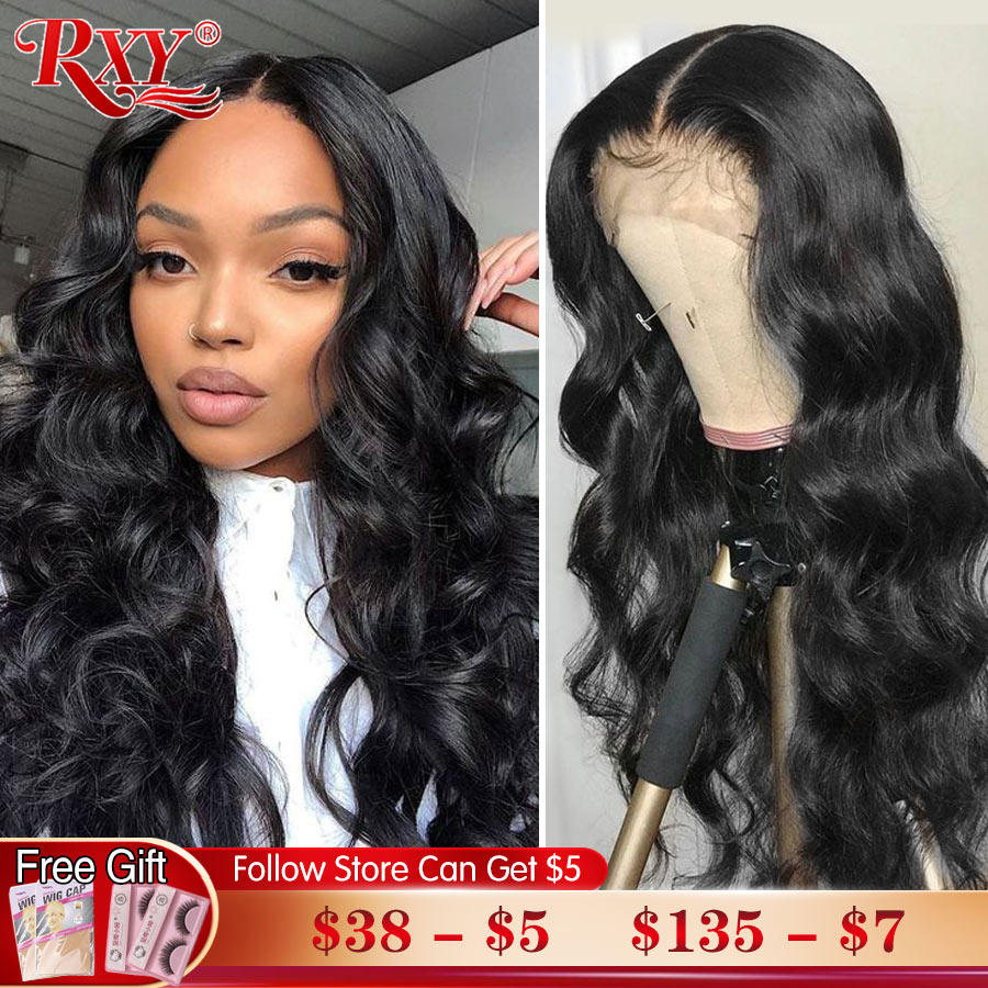 RXY Синтетические волосы на кружеве человеческих волос парики 250 плотность объемная волна Синтетические волосы на кружеве парик человечески...