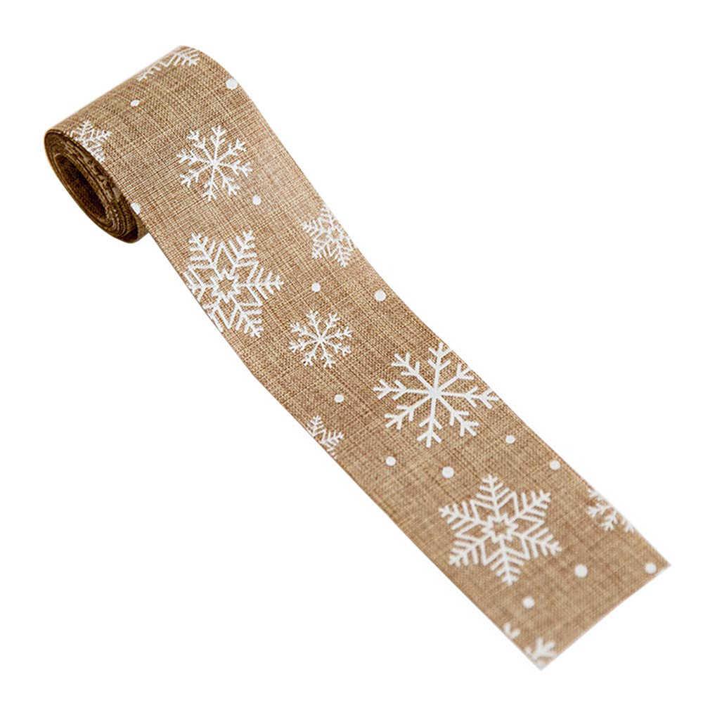1 قطعة 5*200 سنتيمتر ندفة الثلج الغزلان الخيش الشريط عيد ميلاد سعيد شجرة زخرفة عيد الميلاد ديكور المنزل حفل زفاف الديكور Bow بها بنفسك القوس الحرفية